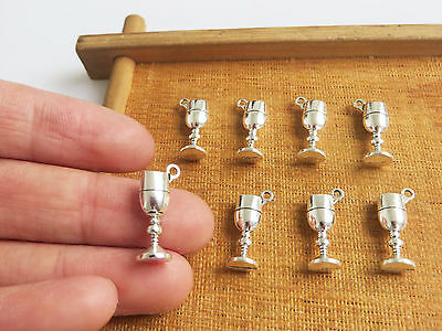20 x Tibetan Silver Tone Wine Glass Goblet Charms Pendants Beads 18mm
