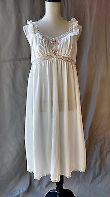 Vintage Anne Maid Lingerie NYLON Nightgown SHEER Ruffles LACE Size Medium M