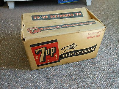 7-UP The FRESH UP DRINK box crate Vintage Soda Advertising Art BROOKS,Holland MI
