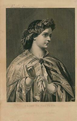 Young woman in party dress flowers ca. 1850's era fashion Female antique print