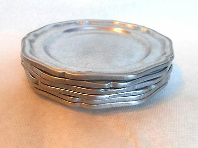 Vintage Pewter Bread Salad Plates Set of 6 International Silver Co. 7 inch