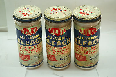 VINTAGE LAUNDRY BLEACH ADVERTISING SOAP LOT 3 JARS DUPONT UNOPENED 1940s