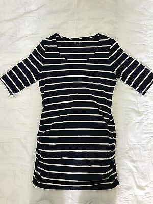 A Pea In The Pod Maternity Navy White Tunic Size XS