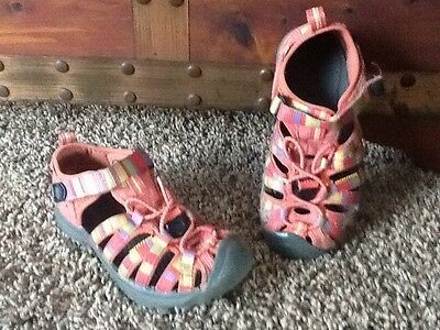 KEEN Girls Youth Coral Pink Purple Waterproof Sandals Shoes Size 12