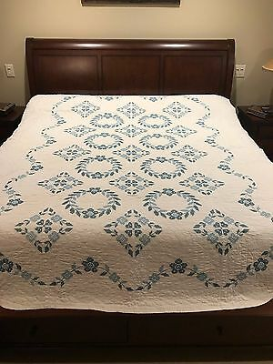 Vintage Hand Quilted Cross-Stitched Quilt