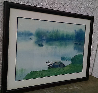 Hong Hu (洪湖), Signed & Dated 1982, Original Vintage Chinese Watercolor Painting,