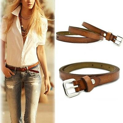 Womens Vintage Belt Casual Brown Thin Cow Leather Buckle Waist Belt Adjustable