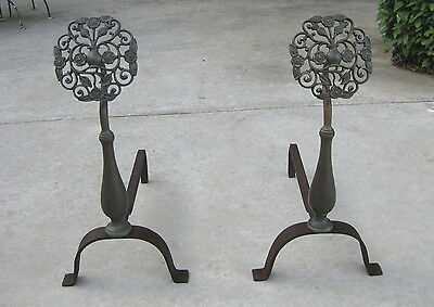 Aesthetic Movement Brass Andirons Thistle Floral Design Scottish? Arts & Crafts