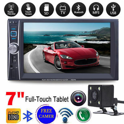 "Bluetooth 7"" Double 2DIN Car MP5 Player Touch Screen Stereo Radio HD FM/USB"