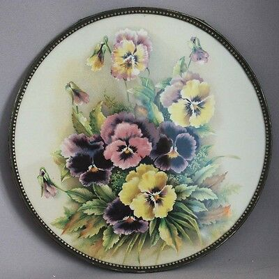 """Antique Vntg VICTORIAN PANSIES Flowers FLUE COVER 9 3/4"""" Tin Chimney Stove Pipe"""