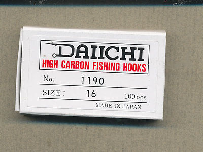 Daiichi 1190 - barbless dry fly hook - size 16        quantity 100