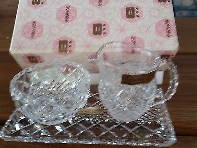 Vintage bohemia crystal 3 piece milk , sugar and tray set in original box