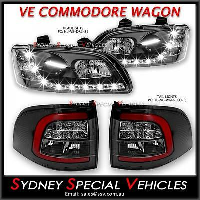 Drl Headlights & Led Tail Lights For Ve Commodore Series 1 Wagon Sportwagon