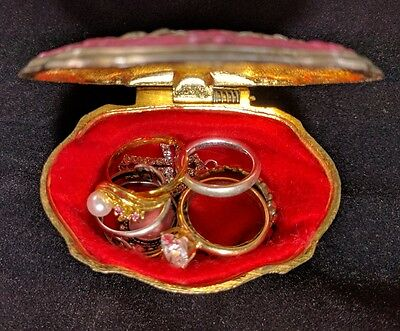 Vintage Trinket Jewelry Box Filled w/Rings & Pendant Sterling 925 & Costume Lot