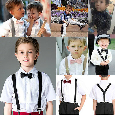 Adjustable Tie Clip Elastic Braces Girls Suspenders Back Kid Slim On Boys