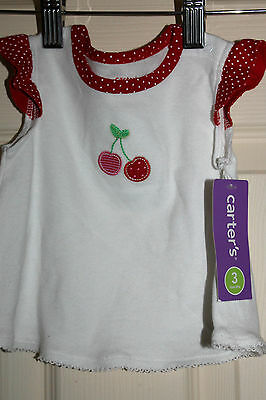New with Tags Baby Girls 'CARTERS'  Top with Cherry embroidery size  3 months
