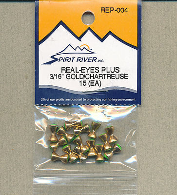 """Real-Eyes Plus - 3/16"""" - gold / chartreuse - (qty 15)     REP-204"""
