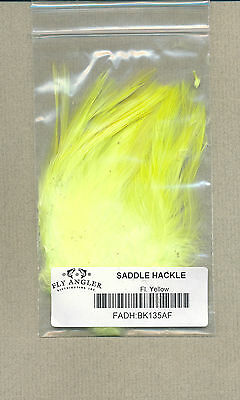 Saddle Hackle (4-6 in.) - fl yellow     BK135AF