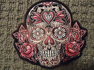 Diamond Roses Skull Embroidered Iron On Biker Vest Patch Harley Davidson Victory