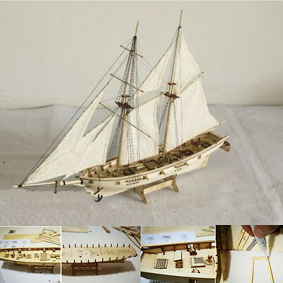 1:100 Scale Wooden Wood Sailboat Ship Kits Home Model Decoration Boat Gift New