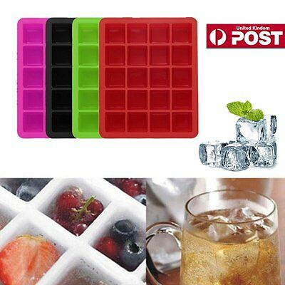 *UK Seller* Silicone 20 Cavity Large Square Ice Cube Tray Jelly Mold Mould 2017B
