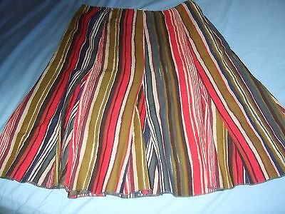 """Womens size 18 PER UNA 26"""" red green blue vertical striped floaty skirt"""