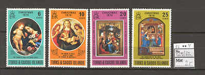 JAM E81 Turks & Caicos Isl 1976 MNH 4v Christmas Fine Art Painting Virgin Child