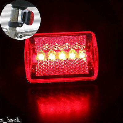 Waterproof 5LED Flashing Lamp Tail Light Rear Cycling Bike Safety Warning Light