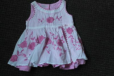 Monsoon Pink  Baby Girl Dress - 3-6 Months