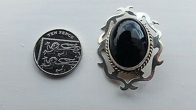 Modern Whitby jet and silver brooch
