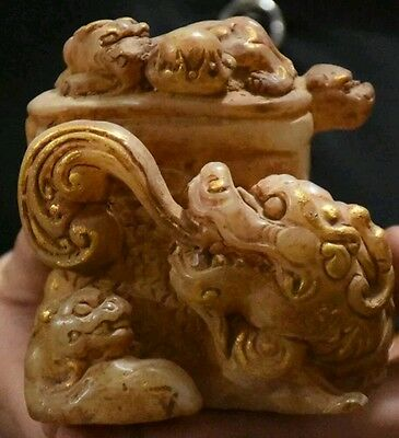 Amazing!! Unique Antique White Jade And Gold Gilt Carved Dragon! 1 of a kind....