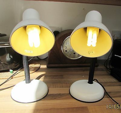 Pair Of White Metal Desk/ Bedside/table Lamps B.h.s.