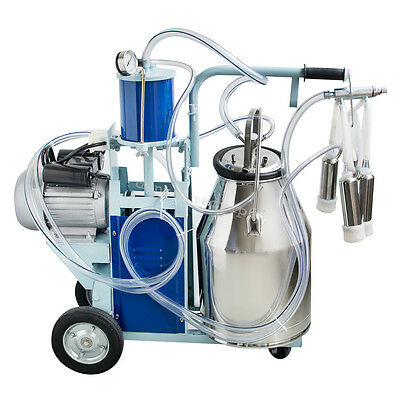 From CA!Electric Milking Machine Farm Cow 25L Bucket Vacuum Piston Pump 110/220V