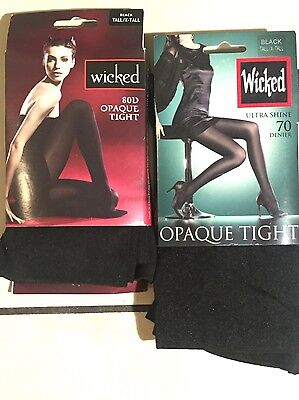 Brand New 2 Pairs Wicked  Pantyhose Opaque Tight size Ex-Tall