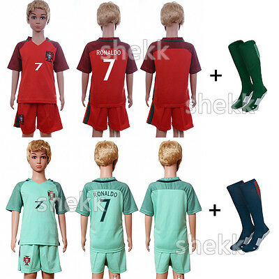 RONALDO 7 Football Soccer Jersey Kit Short Sleeve Sport Club Suit+Socks Kids