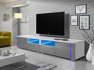 TV STAND MIRAGE DOUBLE Cabinet TV Table Unit In Choice Of Colours FREE LED