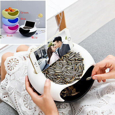 New Double Layer Nuts Plate Box  Garbage Container Holder Smart Dish Storage Box