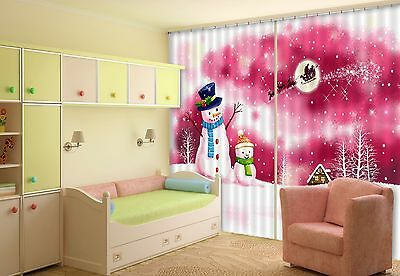3D Snowman 76 Blockout Photo Curtain Printing Curtains Drapes Fabric Window CA