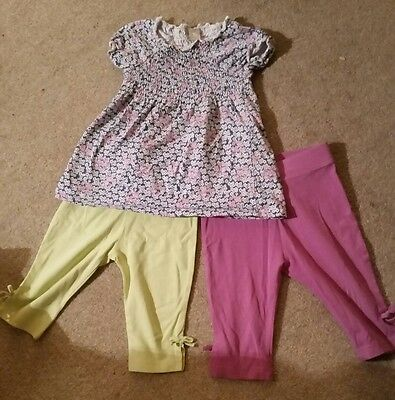 Baby girl 12-18 months floral top and H&M cropped leggings bundle summer