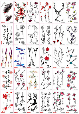 30pcs/sheet Temporary Tattoos Paper for Women Body Art Tattoo Stickers Fake Tato