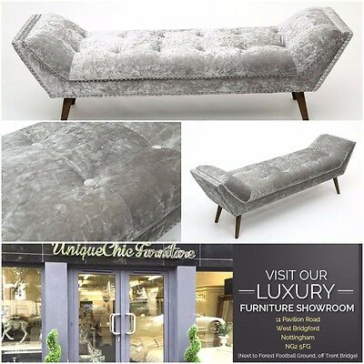 Silver  Crushed Velvet Chaise Longue Bed Seat Window Bench Long Stool Luxury