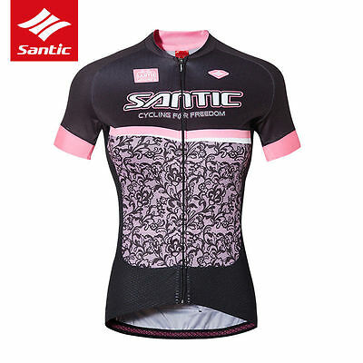 Santic Short Sleeve Cycling Jersey Women Breathable Quickdry T-Shirt Bike Jersey