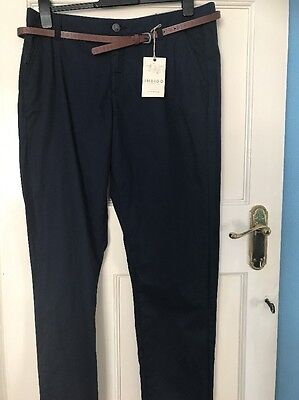 M&S INDIGO Pure COTTON size 14 long CHINOS with BELT SIZE