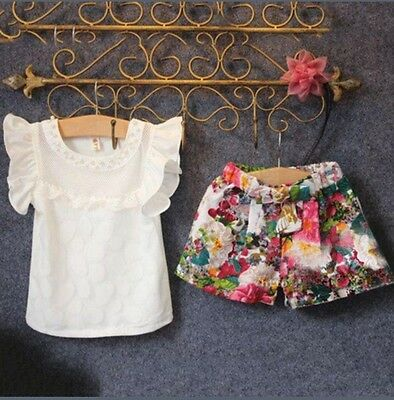 BRAND NEW Girls outfit floral shorts sparkle top age 2 3 4 5 6 7
