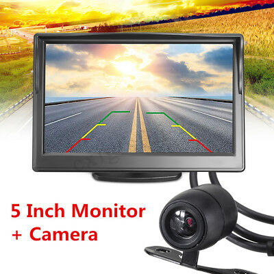 """5"""" LCD Car Rear View  Monitor + Wired Reverse Waterproof Wide Angle Camera Kit"""
