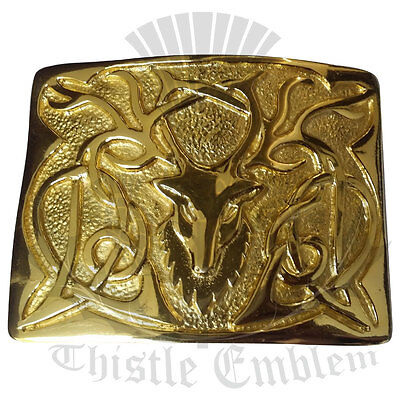 Men's Belt Buckle Stag Head Gold Plated/Scottish Kilt Belt Buckle Stag Head Gold