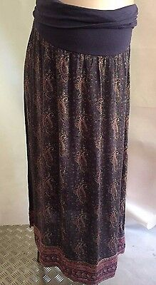 [81] New Look Maternity Blue Paisley Long Skirt Size 14