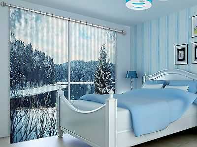 3D Snow Pine 87 Blockout Photo Curtain Printing Curtains Drapes Fabric Window CA