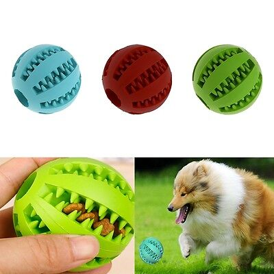 Pet Dog Chew Toy Food Dispenser Rubber Ball Bite-Resistant Clean Teeth