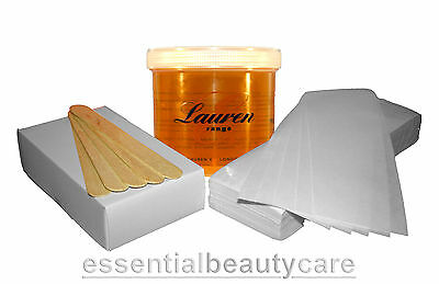 WAX KIT warm wax, paper wax strips, waxing spatulas - legs body face